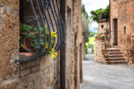 Magic streets of a medieval town in Tuscany, Monticchiello.