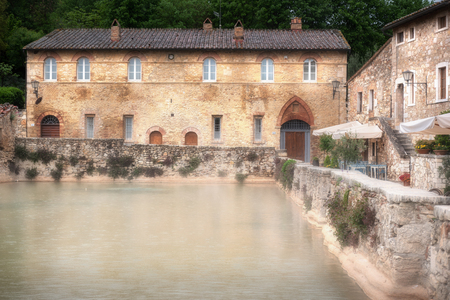 Bagno Vignoni, world-famous thermal water in Italy Фото со стока