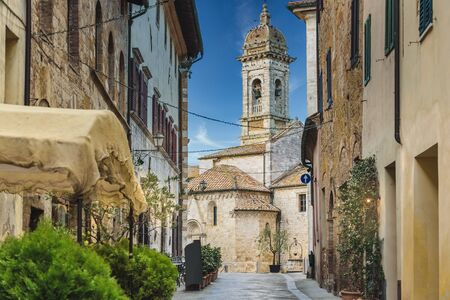 Absolutely beautiful town in southern Tuscany, somewhere in the Val d'Orcia, San Quirico d'Orcia, Italy. In winter time wather.