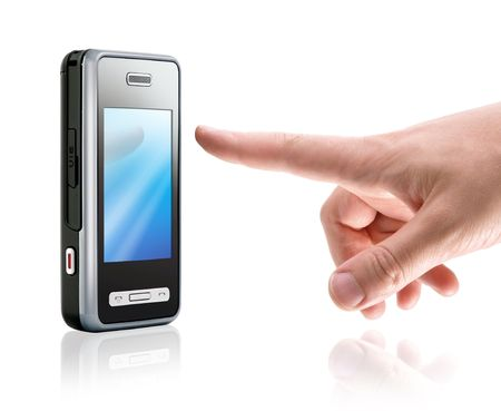 touch screen mobile phone and finger, isolated on white photo