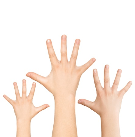 Three hands calling for help on white background, with clipping path Фото со стока