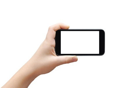 cell phones: Hand holding big touchscreen smart phone, clipping path