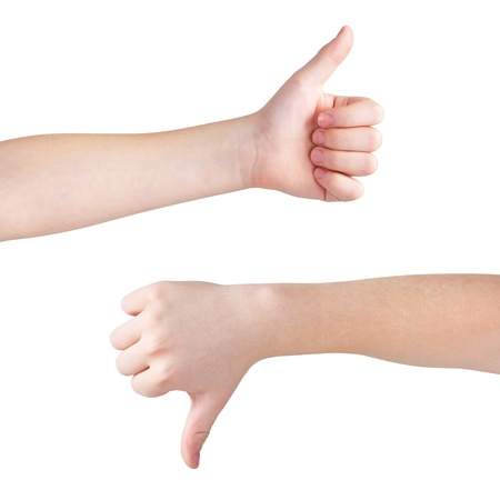 election debate: Thumbs up and down, isolated on white, clipping path