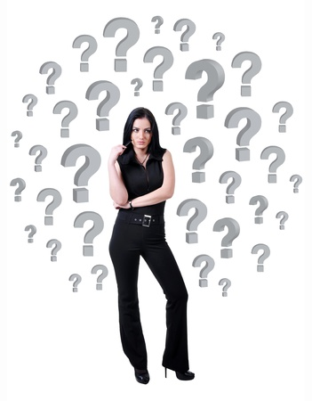 concepts and ideas: businesswoman surrounded by question marks on white background