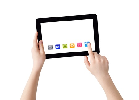 tablet pc in hand: Two hands with Tablet PC, finger pointing abstract application