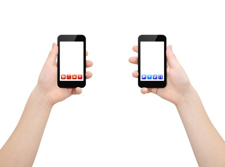 the left: Two hands holding two smartphones with red and blue bright applications icons, isolated on white,