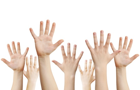 Human hands raised up, isolated on white,  photo