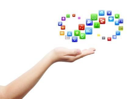 simbolo infinito: Mano con la palma abierta y la propuesta de un mont�n de aplicaciones iconos