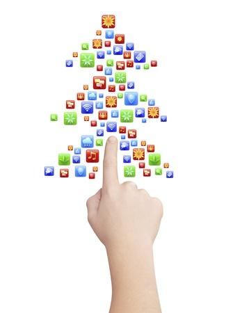 huge christmas tree: Finger pointing symbolic Christmas tree icons, isolated on white