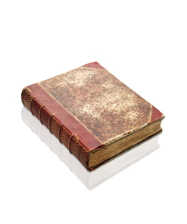 decrepit: Old decrepit XIXth century book isolated on white Stock Photo