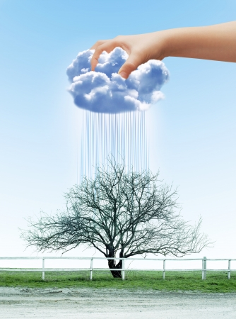 dry land: Human hand contracting cloud like a sponge, watering dry tree Stock Photo