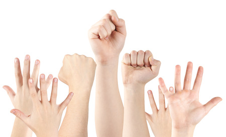 Human hands raised up, isolated on white, clipping path photo