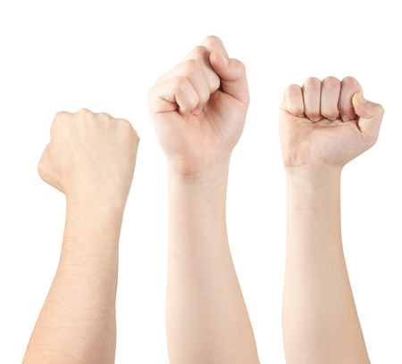 Three hands demonstrating fists, isolated, clipping path photo