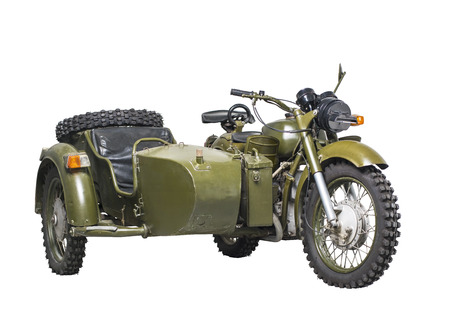 saddlebag: Old Soviet military motorcycle, isolated, clipping path