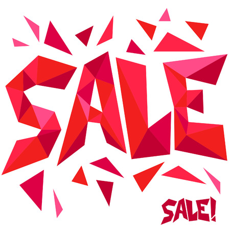 Triangulated vector SALE sharp red sign Vettoriali