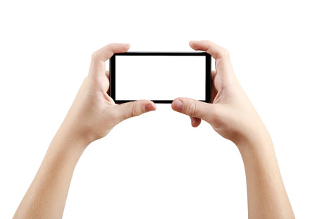 and the horizontal man: Two hands holding big screen smart phone, clipping path