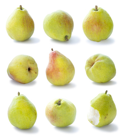 anjou: Set of Green Beurr dAnjou or simply Anjou pears, isolated on white Stock Photo