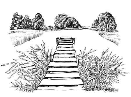 Wooden small bridge for fishing summer lake ink illustration