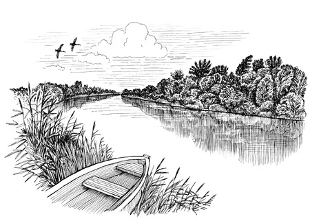 Summer riverbank landscape, ink drawing Standard-Bild
