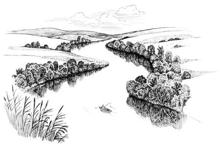 river boat: Zigzag river flows between summer valleys, ink drawing Stock Photo