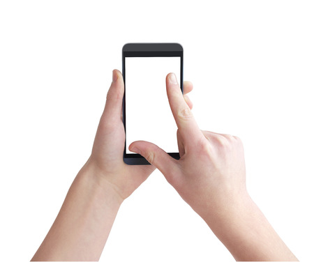 Holding big touch screen smart phone, right hand zooming on touchscreen using fingers.