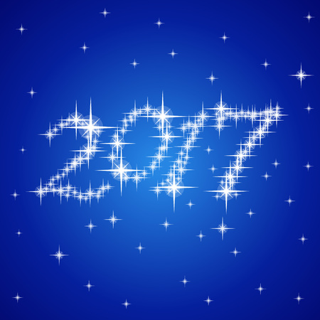 date night: 2017 Blue New Year vector stars numbers composition