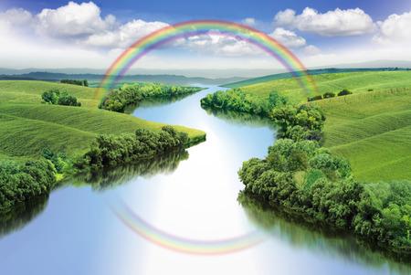 여름 계곡, 컬러 일러스트 사이 무지개와 지그재그로 강