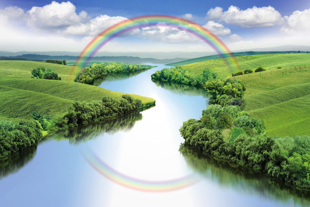 Zigzag river with rainbow between summer valleys, color illustration