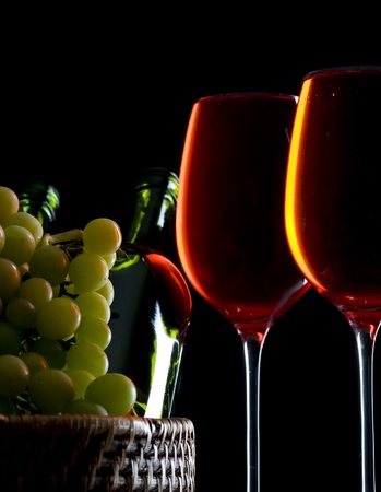 winetasting: Contour wineglass and bottle wine with grape  Stock Photo