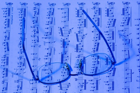 Blue Background of music. Fbstract  with Note pad 