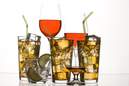 Glass with alcohol and ice on white background Zdjęcie Seryjne