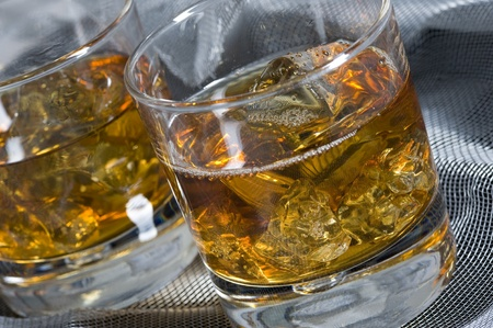 Whisky on the rock. Alcohol drink and ice