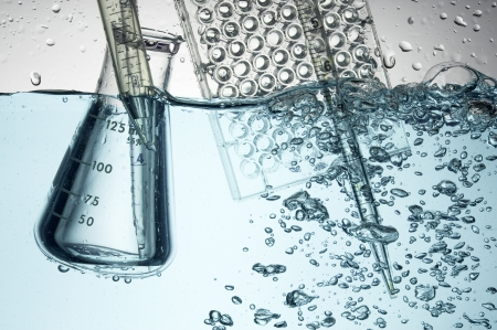 Chemical Test Tube . Medical experiment with Laboratory glass Stock Photo - 11130478