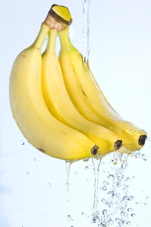 Banana  with splashing fresh water