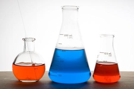 Laboratory flask isolated on white background  Stock Photo