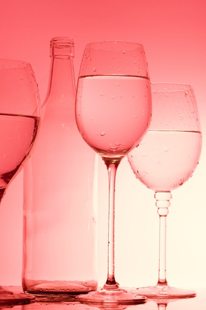 Background with wine glass and bottle  photo