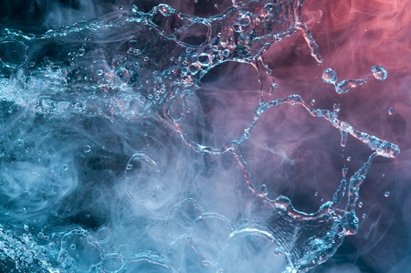 Water and smoke. Creative backround with drops  Stock Photo