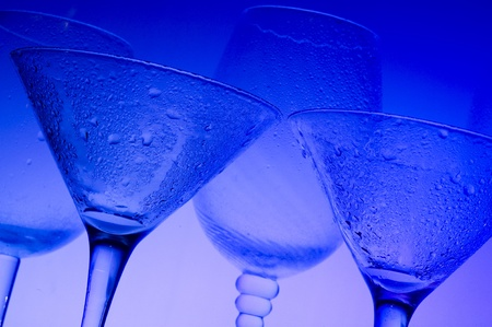 Blue background with glass
