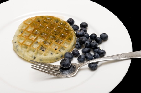 Waffle with sweet fresh blueberries