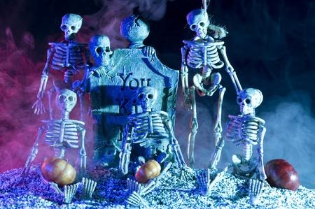 Halloween subject. Skeleton in smoke Stock Photo - 11365067