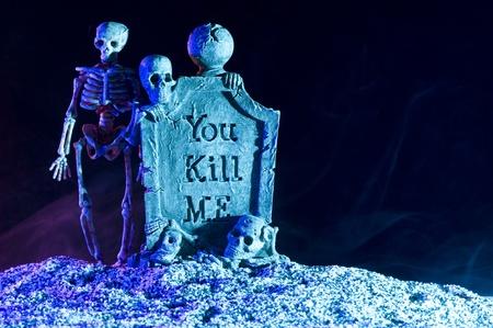 Halloween subject. Skeleton in smoke
