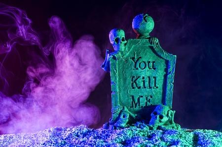 Halloween subject. Skeleton in smoke Stok Fotoğraf