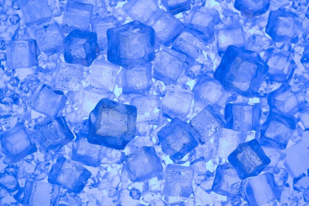 luster: Fresh ice .Blue background with cold ice