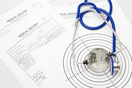 A prescription form and stethoscope on a doctors desk Banco de Imagens