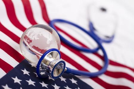 Stethoscope and globe on a USA flag Stock Photo - 11492209