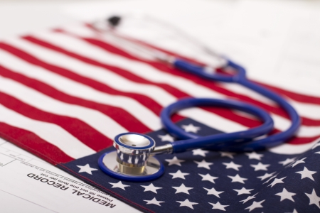 Stethoscope on a USA flag Banque d'images