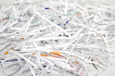 Shredder cutting paper Stock Photo