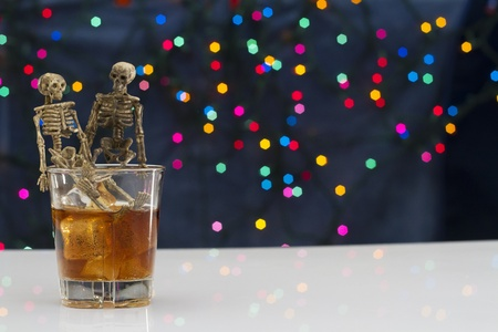 Skeleton with a Whisky. Alcoholism problem Stock Photo - 11492926