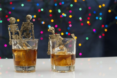Skeleton with a Whisky. Alcoholism problem Stock Photo - 11492937
