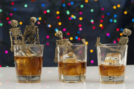 Skeleton with a Whisky. Alcoholism problem